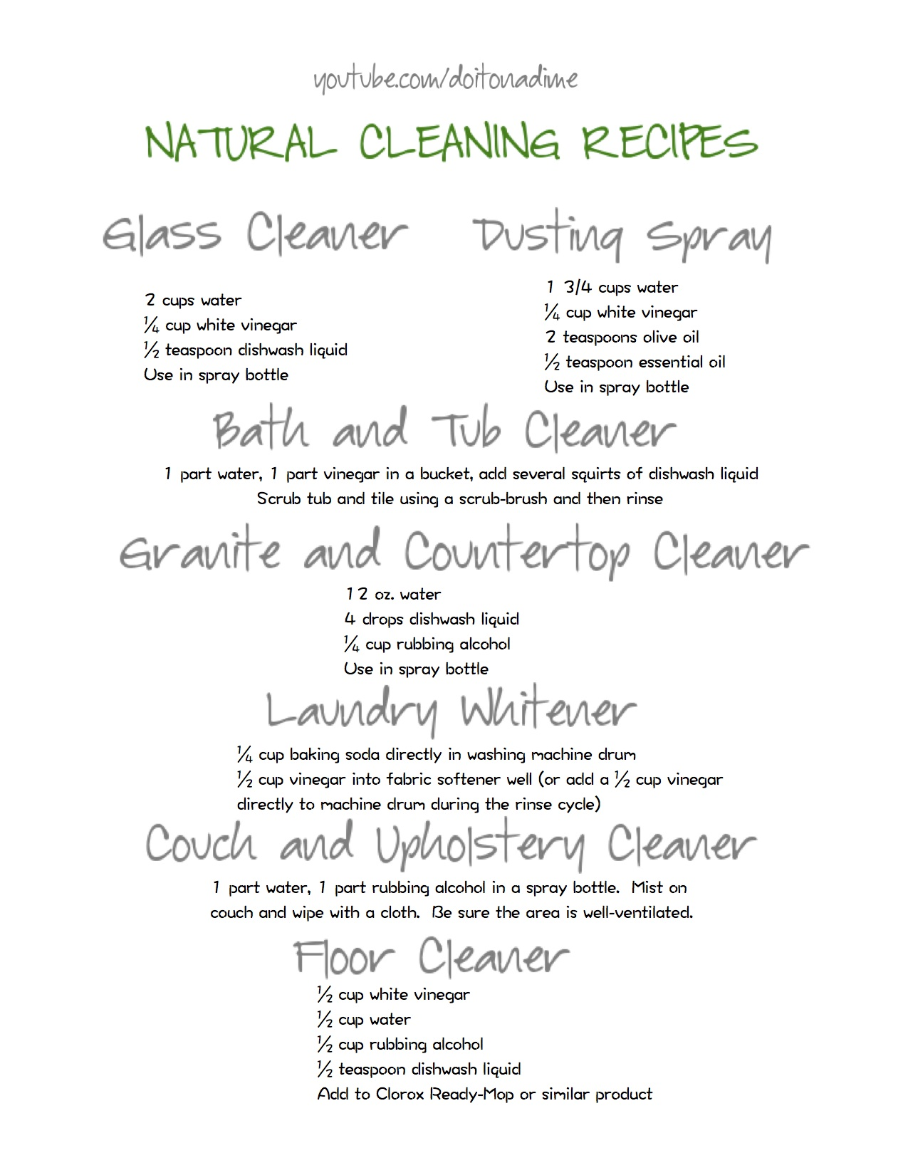 Natural Cleaning – Do It On A Dime